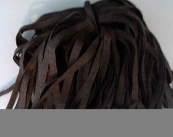 89 Hand Dyed Wool Rug Hooking Strips Medium Brown
