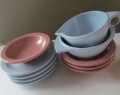 10 Piece Lot of Boonton Ware Melmac Sugar, Creamer, Plates, Bowls - Pink Blue - Shabby Vintage Cottage