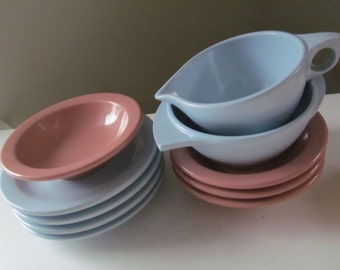 10 Piece Lot of Boonton Ware Melmac Sugar, Creamer, Plates, Bowls - Pink Blue - Shabby Vintage Cottage