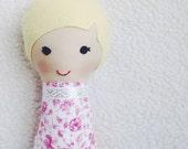 Stuffed Mini Doll, Fabric Cloth Doll, Small Stuffed Doll - Yellow Haired Girl - Blond Handmade Doll