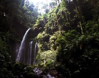 Tiu Kelep Waterfall - 5x7 photo in 8x10 mat, fine art photograph, nature photography, waterfall photograph, home decor, lombok, indonesia