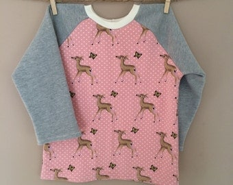 READY TO SHIP - Sunday West - remnant raglan crewneck tunic sweatshirt - deer
