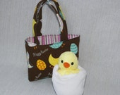 Easter Gift for Child Happy Easter Chicks and Eggs Teeny Tote Mini Basket