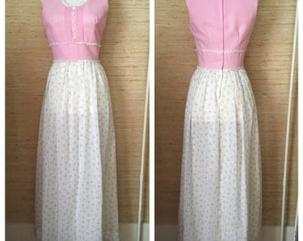 Vintage Vicky Vaughn Juniors Sleeveless Maxi Dress / Prom / Bridesmaid / Festival / Pink Floral Eyelet