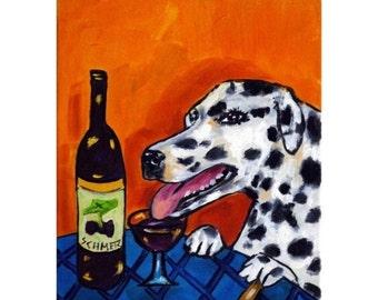 Dalmatian at the Wine Bar Dog Art Print