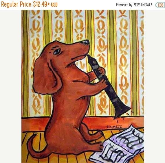 10% off SALE Dachshund Playing the Clarinet Dog Art Print   JSCHMETZ modern abstract folk pop art AMERICAN Art gift