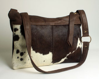Leather Cowhide Handbag Brown Shoulder Bag Pony Hair Purse