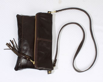 Top Grain Leather Fold Over Clutch Purse