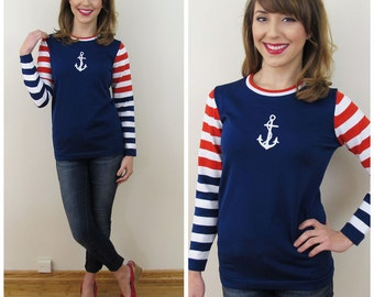 70s Booth Bay Navy Red White Striped Nautical Sailor Top, Size Medium