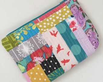 Quilted Patchwork Zipper Pouch