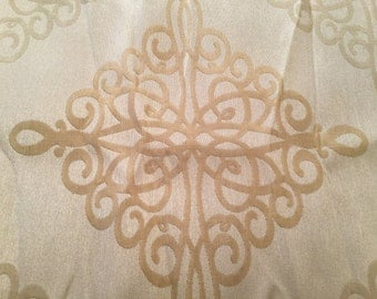 Shimmery Gold Fabric with squiggle  Motif Pattern - 2 yards