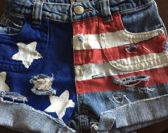 Stars & Stripes distressed denim shorts