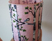 Tiny Chickadee in a Birch Woodland Sculpted with Polymer Clay onto a Recycled Glass Candle Holder in Blush Pink