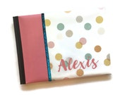 Pink and Teal Dots Baby Book Landscape Orientation Alexis
