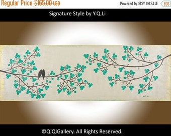 """Birds art wall art wall hangings wall decor Palette knife Birds On tree branch """"Beauty of Spring"""" by QIQIGALLERY"""