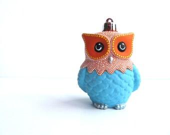 Blue and Orange Owl Ornament: Shatter Resistant Hand Painted plastic Owl Ornament Blue and Orange