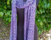 Hand knit lace stole/scarf in purples