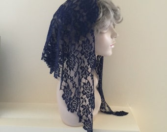 Dark Navy Stretch Lace Headcovering - Ready to Ship!