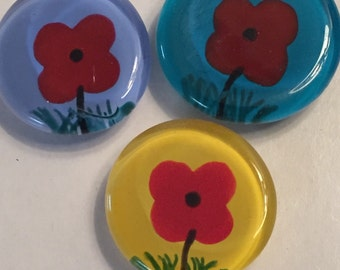 Poppies poppy Hand painted large glass gem magnet  mini art flowers