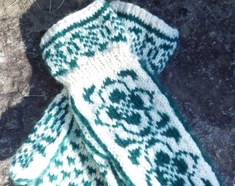 Handknit Mohair and Wool Blend Norwegian Rose Design Cuff Mittens Natural and Dark Green