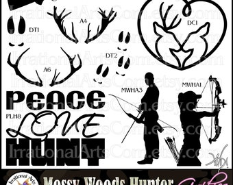 Mossy Wood Hunter Silhouettes Set 3 - 9 png files Peace Love Hunt antlers male and female archer with bow and arrow {Instant Download}