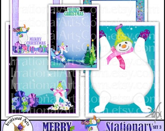 Christmas Stationary set 3 Snowman Brights  - 5 jpg files for DIY printing letterhead papers newletter digital frame {Instant Download}