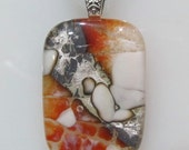 Fused Glass Pendant with ribbon necklace: Fabulous Crackle