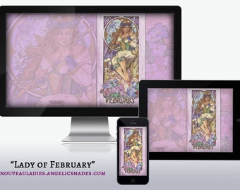 Lady of February Art Nouveau Amethyst Violets Birthstones Birth Flowers Wallpapers for Desktop, Phone, and Tablet