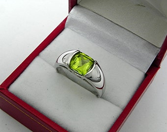 AAA Peridot Square Cut 1.42ct 7x7mm 14K White gold ring.  1364