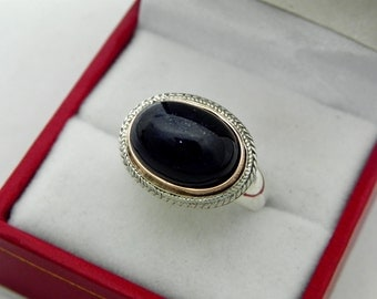 AAA Iolite Cabochon 14x10mm 10.83 Carats in 18K Rose gold and Sterling silver ring.  1555