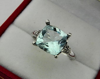 AAA Green Blue Aquamarine Cushion cut   9x9mm  2.47 Carats   10K white gold Engagement Ring set with .02 carats of diamonds 0743