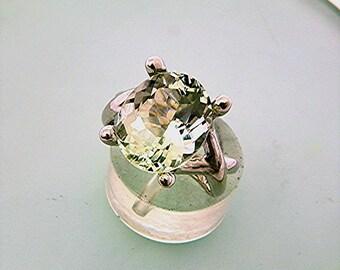 AAA Green Aquamarine   12x10mm  5.06 Carats   14K White gold gold - ELKE- ring 0718