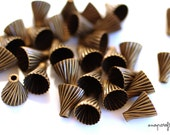 12 pc antique brass bead caps / fluted design / for 10-12mm beads / lead free, nickel free hypoallergenic