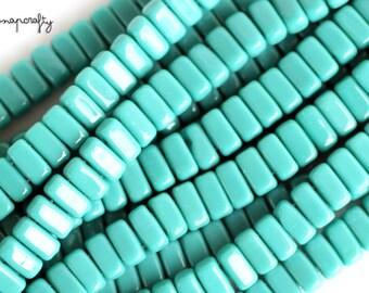 persian turquoise czech glass brick beads / 6mm two hole brick bead / Czechmates bead strand  / 50 beads / aqua glass beads / 6x3mm