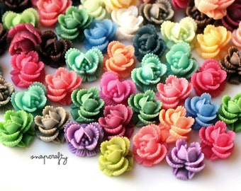 20pc assorted mix / ruffled rose resin flower cabochon mix / flat back flower cab embellishments / 11mm resin flower cabs / small flowers