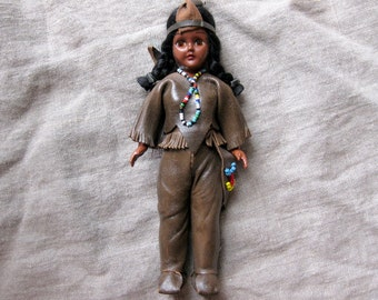 Vintage Carlson Native American Doll, Beads, Leather Outfit