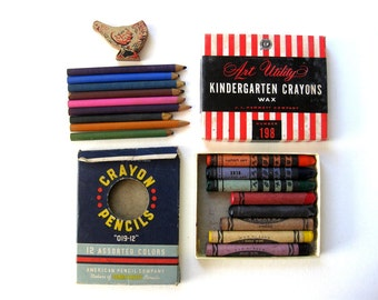 Vintage School Crayons in Box, Wood Pencils in Box, Set of Two