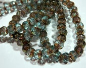 Czech Aqua Bronze with Picasso 5x7mm Faceted Fire Polished Glass Rondelle Beads (25) 0077