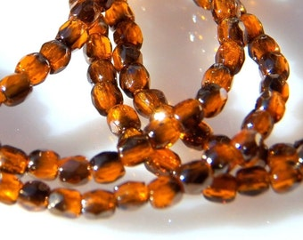 Czech 3mm Faceted Fire Orange Round Glass Beads (50) 048