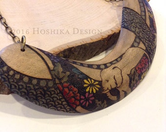 Elephant Wooden Statement Necklace, Boomerang, Pyrography -wood burning-, Hand painted, One-of-a-kind jewelry