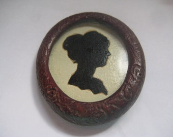 REDUCED 20 DOLLARS Victorian Mourning Brooch Bog Oak Lucite Silhouette Pin
