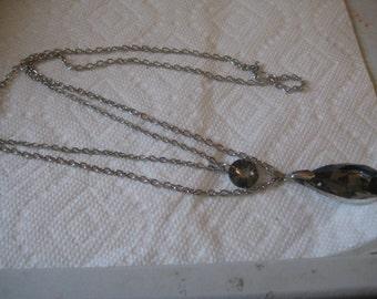 5 Dollar Listing  Double chain Rhinestone Necklace in Black Diamond Rivoli and Pear Stones