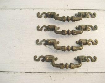 Set of 4 Vintage Brass Metal Drawer Pulls-- More Available