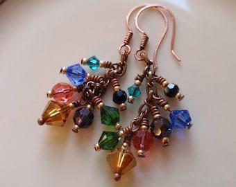 Crystal Allure Copper Cluster Earrings