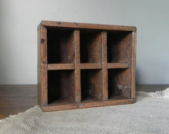 Vintage shadowbox divided shelf box six compartments cubbies wood handmade primitive