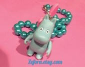 Moomin Boy Kawaii Pink Bow And Baby Blue Pearl Necklace