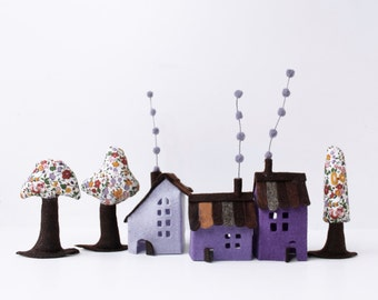 House ornament, Violet Cabins with trees, House Felt Miniature