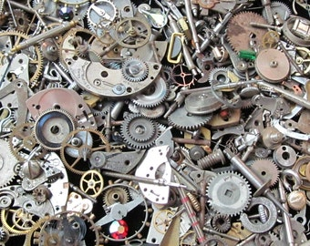 2 1/2 oz 70 grams Vintage Watch movements parts cogs gears Steampunk   Z 66
