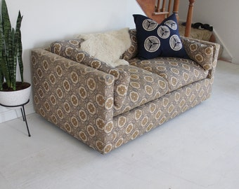 Deep Low Blue & Yellow Flower Graphic Midcentury Sofa