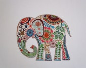 Large Elephant Iron On Fabric Applique Patch 9""